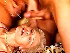 Lusty grannies get cum in wild orgy