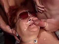 Chubby redhead mature gets facials after wild orgy