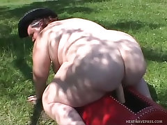 Horny fat harlot jumps on a stiff cock