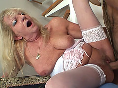 She turns him on and then he just has to fuck her naughty mother in law pussy hard