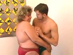 Fat granny pleases young skinny guy