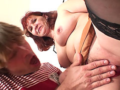 The naughty old slut is bent over and she rides cock and the young guy really hammers her